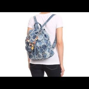 NEW Paris City Blue Jean Backpack w/Jeweled Charms